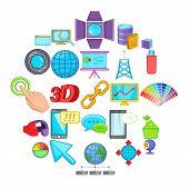 Progressive Advertising Icons Set. Cartoon Set Of 25 Progressive Advertising Vector Icons For Web Is poster