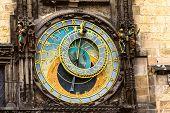 Prague Chimes Or Eagle Clock (czech Prazsky Orloj, Also Czech Staromestsky Orloj) At Sunset .the Med poster