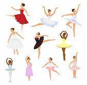 Ballet Dancer Vector Ballerina Woman Character Dancing In Ballet-skirt Tutu Illustration Set Of Clas poster