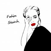 Fashion Woman Sketch: Girl In Black Jacket And Red Lips. Beautiful Woman Closes Hand Face Vector Fas poster