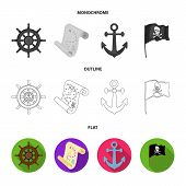Pirate, Bandit, Rudder, Flag .pirates Set Collection Icons In Flat, Outline, Monochrome Style Vector poster