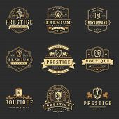 Luxury Monograms Logos Templates Vector Objects Set For Logotype Or Badge Design. Trendy Vintage Roy poster