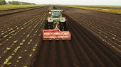 Aerial View Tractor Hilling Potatoes With Disc Hiller. Farmer In Tractor Preparing Land With Seedbed poster