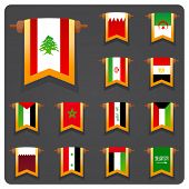Stylized flags Arabian countries