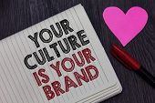 Writing Note Showing Your Culture Is Your Brand. Business Photo Showcasing Knowledge Experiences Are poster