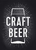 Craft Beer. Poster Or Banner With Text Craft Beer. Black-white Chalk Graphic Design On Chalk Board,  poster