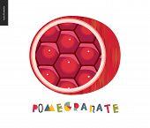 Food Patterns, Pomegranate - Fruit, Vector Flat Illustration Of Pomegranate Half - Hexagonal Shining poster