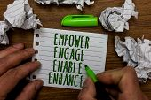 Word Writing Text Empower Engage Enable Enhance. Business Concept For Empowerment Leadership Motivat poster