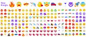 Big Set Of New Modern Emojis. Emoticons Flat Vector Illustration Symbols. All World Emotions In Yell poster