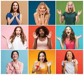 The Collage Of Faces Of Surprised People On Colored Backgrounds. Happy Women Smiling. Human Emotions poster