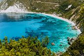Petani Beach In Summer, Kefalonia Island, Greece. View To Petani Bay With Transparent And Crystal Cl poster