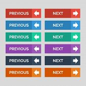 Previous And Next Flat Buttons On Grey Background. Vector Illustration poster