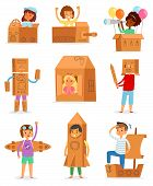 Kids In Box Vector Creative Children Character Playing In Boxed House And Boy Or Girl In Carton Plan poster