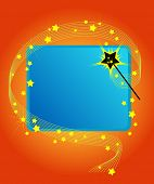 foto of magic-wand  - Magic wand casting a spell on a blue copy space - JPG