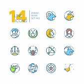 Zodiac Signs - Set Of Line Design Style Colorful Icons On White Background. Pictograms With Aries, T poster