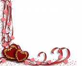 image of valentines day card  - 3D Illustration for Valentines Day card or background with hearts and ribbons - JPG