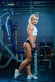 Young Sexy Woman Doing Exercises With Heavy Chain In Gym. Classic Bodybuilding. Muscular Blonde Fitn poster