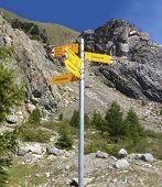 Signpost Written In German Of Various Hiking Trails, Zermatt, Switzerland. Weg Means Trail, Furi Is  poster