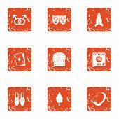 Romance Novel Icons Set. Grunge Set Of 9 Romance Novel Vector Icons For Web Isolated On White Backgr poster