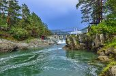 Beautiful Summer Mountain Landscape On Chemal River, Altai Mountains, Russia Bridge Between Rocky Sh poster