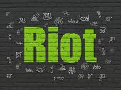 Politics Concept: Painted Green Text Riot On Black Brick Wall Background With  Hand Drawn Politics I poster