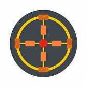 Gun Aim Icon. Flat Illustration Of Gun Aim Vector Icon For Web Isolated On White poster