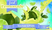 Vector Ads 3d Promotion Banner, Realistic Lime And  Fruit Splashing With Falling Slices, Juice Drops poster