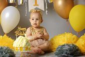 Portrait Of Cute Adorable Caucasian Baby Girl In Tutu Tulle Skirt Celebrating Her First Birthday. poster