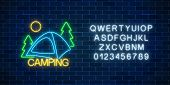 Neon Camping Sign With Spruce And Tent. Glowing Web Banner For Summer Camp, Camping, Nature Tourism  poster