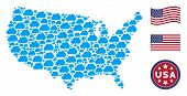 Cloud Icons Are Grouped Into United States Map Collage. Vector Collage Of America Geographic Map Is  poster