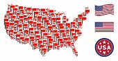 Flag Icons Are Combined Into American Map Collage. Vector Concept Of American Territorial Map Is Cre poster