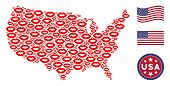 Sexy Lips Items Are Composed Into Usa Map Stylization. Vector Collage Of American Geographical Map I poster