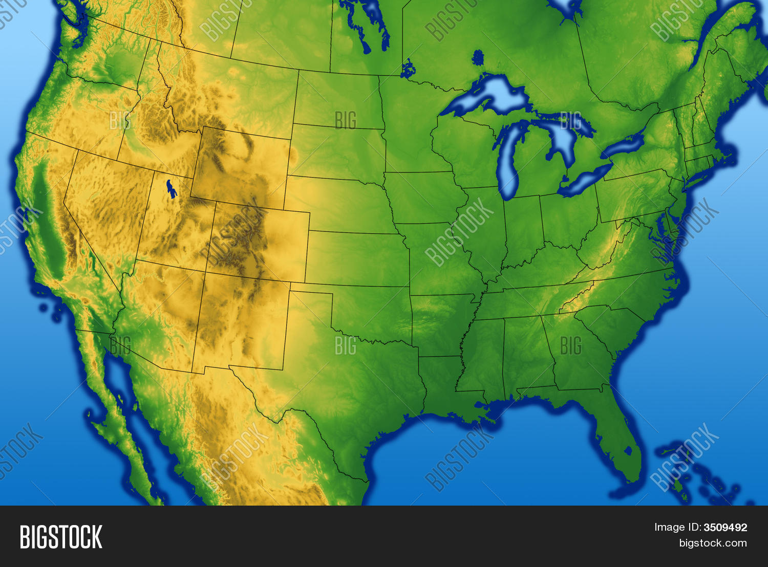 Usa Map Terrain Image Photo Bigstock - Terrain map of the us
