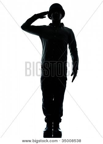 one caucasian army soldier man army soldier man saluting on studio isolated on white background