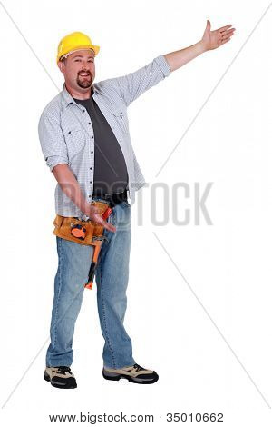 Tradesman with his arms open wide