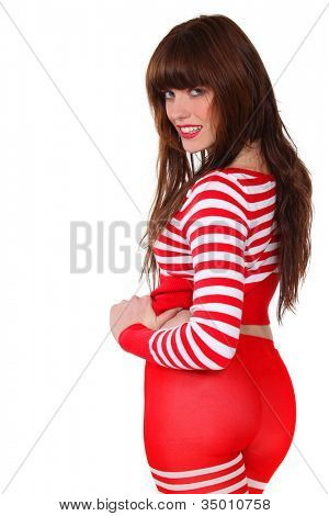 Young woman dressed in striped clothing