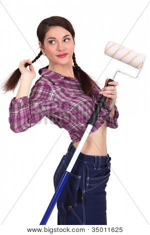 Woman with a paint roller
