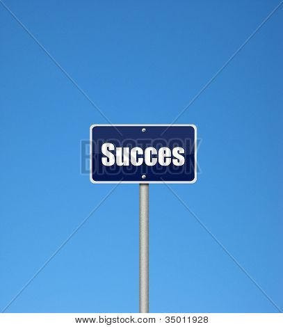 Succes sign on a blue background