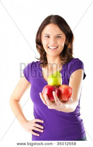 Healthy eating, happy woman with apples and pear