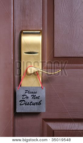 Please Do Not Disturb Message, A Common Request For Others Not To Disturb The Motel Or Resort Room O