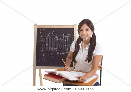 Hispanic College Student College Student Woman Studying Math Exam