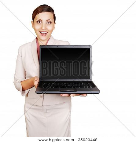 Positive Young Woman With Laptop In Hand