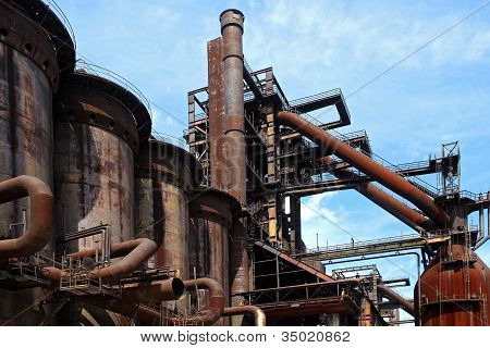 Old Close Blast Furnace Under Sky