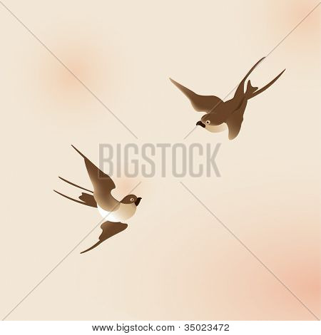 Chinese painting style swallows in vector formats.
