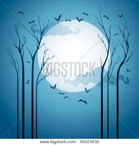 Arboles Secos Vectores árboles Secos en la Noche Con
