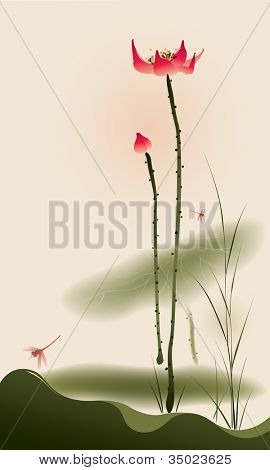 Oriental style painting, tall Lotus