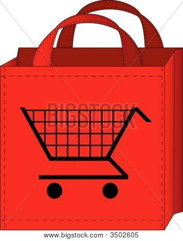 Bolsa de compras con carrito de compras.