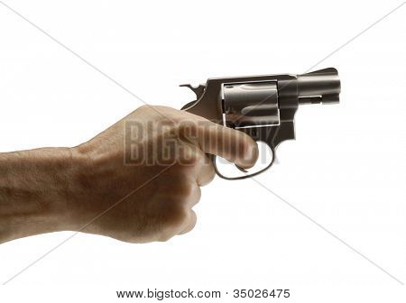 Pointing gun on white background,holding guns.
