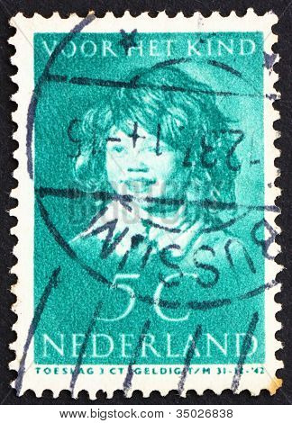 Postage stamp Netherlands 1937 The Laughing Child by Frans Hals