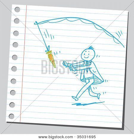 Businessman running for carrot